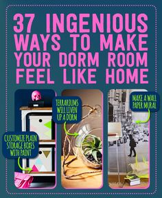 I don't have a dorm; but these non-permanent/non-damaging ideas are great for apartments, too! 37 Ingenious Ways To Make Your Dorm Room Feel Like Home Uni Room, College Years, College Dorm Rooms, College Life, College Hacks, Freshman Year, Dorm Hacks, College Packing, Packing Lists