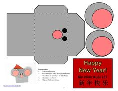 Site has template to print to make this Rat envelope and card as a Chinese New Year project  Quick and easy to print, cut, and glue - draw on whiskers  Good fast project for preschoolers, kindergarteners, elementary school children    Lunar New Year, Chinese zodiac, mice, mouse, Spring Festival, simple crafts for children, project for kids, printables, art, Chinese holidays, China, Mandarin Chinese New Year Crafts For Kids, Chinese New Year Activities, Chinese New Year Card, Chinese Crafts, New Years Activities, Crafts For Kids To Make, Craft Activities For Kids, Preschool Activities, Chinese Holidays