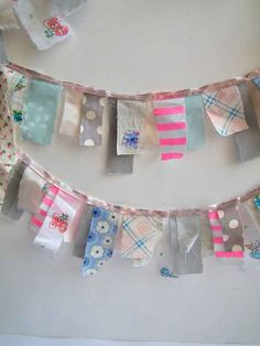 So colorful, playful, simple, fabric garland! Fabric Garland, Bunting Garland, Fabric Bunting, Sewing Crafts, Sewing Projects, Craft Projects, Diy And Crafts, Arts And Crafts, Diy Inspiration