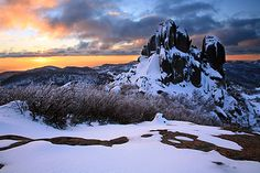 Winter Sunset, The Cathedral, Mt Buffalo, Victoria, Australia Winter Photography, Wildlife Photography, Landscape Photography, Winter Landscape, Landscape Photos, Australian Photography, Snow Place, Victoria Australia, Australia Snow