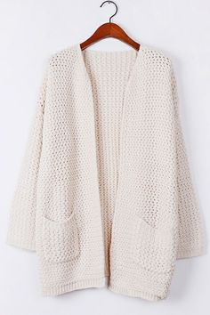 Warm Whole Color Open Front Cardigan by OASAP