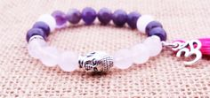 Tassel Bracelet Buddha prayer Spiritual Amethyst Rose Quartz Calming love Bracelet Womens Bracelet Yogini Gifts Buddhist Boho Stackable