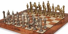 Renaissance Theme Chess Set Brass & Nickel Pieces with Elm Burl Chess Board - The Chess Store