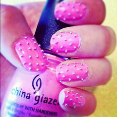 Pink Studded Beaded Nails ♥