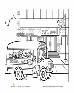 Worksheets: School Coloring Page