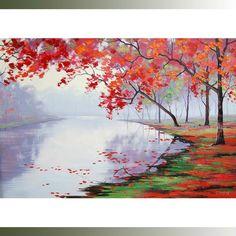 Árboles de arte pintura al óleo lienzo pared Clorful