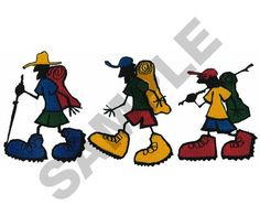 ANIMATED HIKERS embroidery design