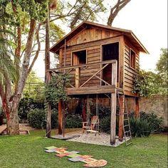 adorable farmhouse cottage design ideas and tiny house decor ideas 83 Backyard Fort, Backyard Playhouse, Backyard Playground, Backyard For Kids, Wooden Playhouse, Cubby Houses, Play Houses, Cottage Design, Tiny House Design