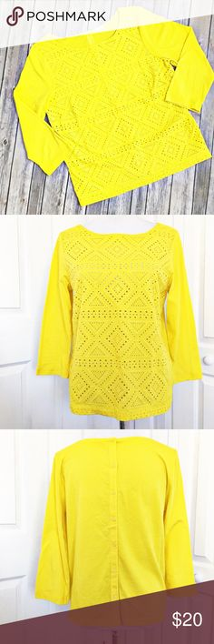 """J. Crew Top Bright yellow top by J. Crew.  Features an embroidered eyelet detail on the front with a button up back.  Top has a very small pin hole as noted in last picture.  Area is located in top left.  Unnoticeable to naked eye.  Price will reflect.  Top is made of 100% cotton.  Measurements laid flat: bust 20"""" and length from top of shoulder to hem 24"""". J. Crew Tops Blouses"""