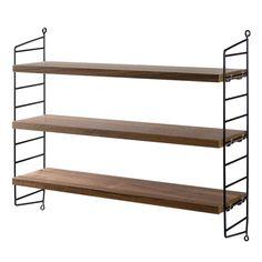 String Pocket shelf, walnut/black Manufacturer: String Design: Nils Strinning