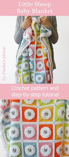 little sheep baby blanket is colorful and fun and easy to make. The crochet pattern is suitable for beginners, because there are a lot of step-by-step pictures. Designed by Dada's place crochet baby blanket pattern, crochet for beginners #crochetblanket #crochetpattern #crochetforbeginners #babycrochet