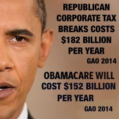 Corporate tax breaks or healthcare reform? Vote out republican corruption this Nov 2014.
