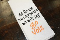 University of Tennessee UT Go Vols monogrammed kitchen towel/dish cloth-tailgating-shower-volunteers-go big orange