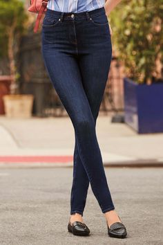 Need a few more pairs of these kinds of jeans. Womens Next Dark Blue Flex Bi-Stretch Skinny Jeans - Blue Dark Blue Jeans Outfit, Blue Jean Outfits, Dark Blue Skinny Jeans, Fashion Models, Nails Polish, Stylish Jeans, Denim Trends, Girls Jeans, Ripped Jeans
