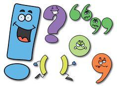 12 personnages représentants les signes de ponctuation colorés