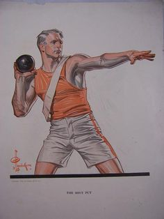Shot Put. American Illustration, Illustration Art, Jc Leyendecker, Historia Universal, Shot Put, Aesthetic Drawing, Norman Rockwell, Traditional Paintings, Sports Art