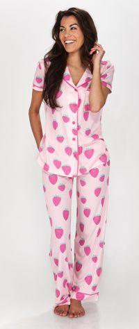 ad60d31ce1 Munki Munki Women s Strawberry Bop Short Sleeve Jersey Classic PJ Set
