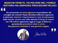 Banche. 100 Milioni in fondo ristoro. Governo garantisca procedure veloci per i risarcimenti