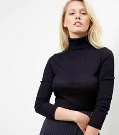 Navy Fine Knit Ribbed Turtle Neck Jumper  | New Look