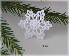 Vánoční ozdoby, háčkované vločky č.13 / Zboží prodejce E-Kle | Fler.cz Crochet Christmas Ornaments, Christmas Crafts, Christmas Decorations, Crochet Snowflake Pattern, Crochet Snowflakes, Crochet Winter, Holiday Crochet, Snowflake Garland, Crochet Angels