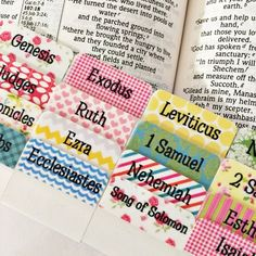 Pink, Green, Blue & Yellow Multicolored Bible Tabs, Bible Journaling Tabs, Bible Journaling, Tabs, Bible by PaperDollDesignsShop on Etsy https://www.etsy.com/listing/242686746/pink-green-blue-yellow-multicolored