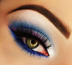 Bold navy blue and purple #vibrant #bold #eye #makeup #eyes #eyeshadow #bright