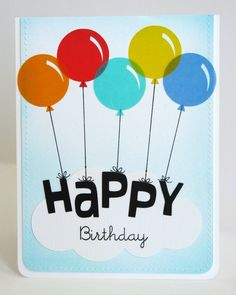 A Vellum Balloon Birthday Card by Mendi Yoshikawa - Scrapbook.com - Vellum is perfect for making balloons on a birthday card!