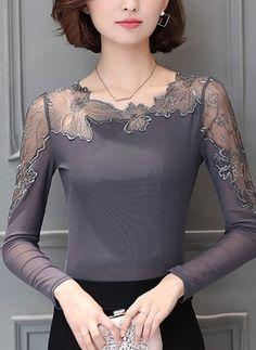 Geometric Sexy Lace Round Neckline Long Sleeve Blouses (1098153) @ floryday.com
