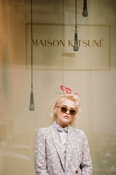 INDIE POP SINGER SKY FERREIRA MAISON KITSUNE SS 2014 LOOKBOOK NEW WAVE THEMED INSPIRED COLLECTION SHORT BLEACH BLONDE BOB SHORT HAIR CAT EYE LINER NEW ALBUM NIGHT TIME MY TIME YOU'RE NOT THE ONE NEUTRAL PRINT BLAZER JACKET PRINT COLLARED BUTTON UP SHIRT PINK LIPSTICK  LIPS NUDE TAN CAT EYE SUNGLASSES RED BLACK WHITE SILK HEAD SCARF TIE Henrik Purienne