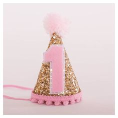 Custom Mini Glittery Birthday Girl Party Hat First Baby Cake Smash 1st