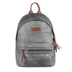 8518646864cc2 OBC DAMEN NIETEN RUCKSACK Tasche Cityrucksack Schultertasche Handtasche  Shopper Daypack Backpack Kunst-Lederrucksack Grau