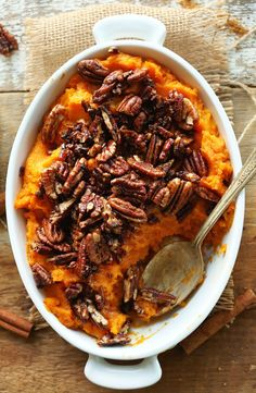 DELICIOUS Butternut Squash Sweet Potato Mash with Maple Cinnamon Pecans | Perfect for fall and Thanksgiving!