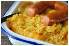 "A Dutch traditional cold-weather dish, one of several kinds of ""stamp pot"" (""mash pot"") made in Holland. This is my favorite, with carrots and onions, usually served with sausage. This recipe adds a twist, but the genuine recipe is just boiled potatoes, carrots, and onions, mashed up (maybe with some chicken stock and a bit of butter or cream)."