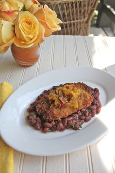 Dijon and Panko Pork Schnitzel with Red Beans