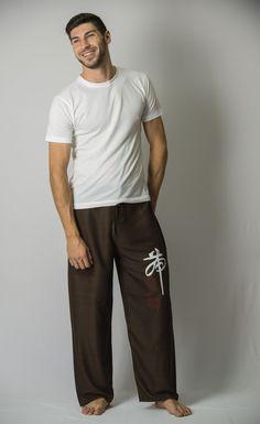 Chinese Writing Men's Thai Yoga Pants in Brown