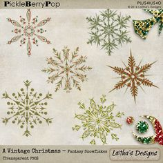 A Vintage Christmas - Fantasy Snowflakes By Laitha's Designs