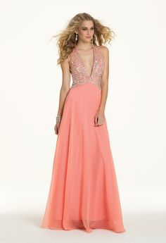 Chiffon Beaded Plunge Dress from Camille La Vie and Group USA