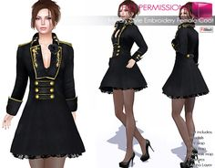 SALE Only 30L During The Weekend, Hurry! Full Perm Fitmesh and Rigged Mesh Military Style Embroidery Female Coat