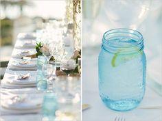 blue mason jar glasses