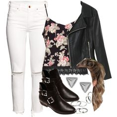 Edgy Hanna Marin inspired outfit with a floral tank top by liarsstyle on Polyvore featuring polyvore fashion style Topshop Chicnova Fashion H&M Wet Seal Express MANGO WF