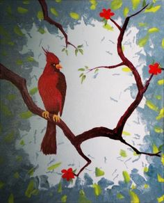 """Cardinal"" - #paintnite #bird #red"