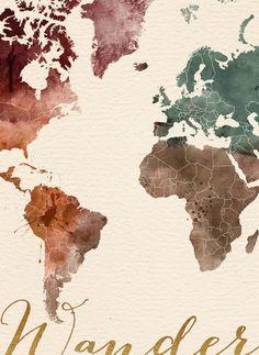 Cartel de Wanderlust impresión de mapa grande del por iPrintPoster