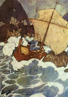 'The ship struck upon a rock.' Illustration by Edmund Dulac. Along with Arthur Rackham, Dulac is considered to be a master of the gift book genre of the late and early centuries. Night Illustration, Botanical Illustration, Edmund Dulac, Fairytale Art, Art Database, Arabian Nights, Artist Art, Fantasy Art, Art Nouveau