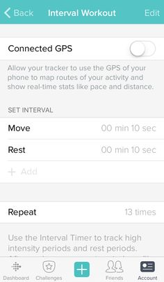 Fitbit Charge 2 iOS app interval timer mode setup