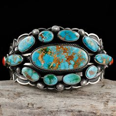 Cuff | Aaron Toadlena (Navajo).  Pilot Mountain Turquoise, sterling silver and red coral.