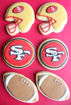 Super Bowl Football Sugar Cookies  #49ers #NFLFanStyle #contest
