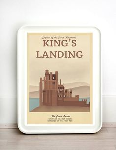 Retro Travel Poster - Game of Thrones - Set of 5 - MANY SIZES Modern Vintage Stark Lannister Jon Snow Tyrion Daenerys Typography Art Print  The night is dark and full of terrors… So make sure you know where you're heading! If you love Game of Thrones as much as I do then you'll love these retro travel prints. What's more, you won't have to request a Raven to get your hands on one as they're all available here!  ---------------------------------------------------------  This is a FULL SET of…