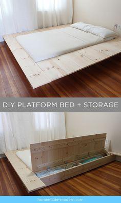 Diy Platform Bed Frame with Storage . Diy Platform Bed Frame with Storage . Build A Platform Bed, Platform Bed With Drawers, King Platform Bed, Platform Bed Frame, Bed Frame With Storage, Diy Bed Frame, Bed Storage, Storage Drawers, Storage Ideas