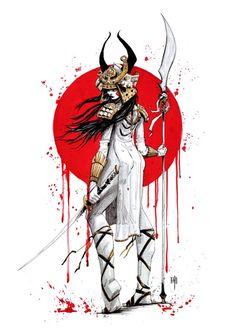 Samurai on Behance Female Samurai Tattoo, Samurai Drawing, Samurai Artwork, Japanese Tattoo Designs, Japanese Tattoo Art, Japanese Artwork, Japanese Prints, Samurai Wallpaper, Character Art