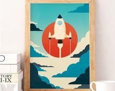 Raum zu drucken Raumschiff Kunst Kindergarten Wandkunst